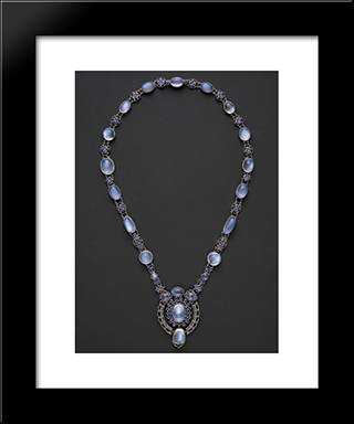 Necklace With Pendant: Modern Black Framed Art Print by Louis Comfort Tiffany
