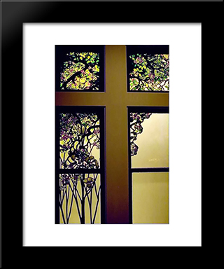 Apple Blossom And Magnolia Window: Modern Black Framed Art Print by Louis Comfort Tiffany