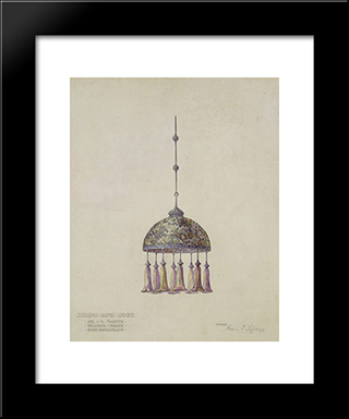 Drawing For Magnolia Hanging Dome Shade: Modern Black Framed Art Print by Louis Comfort Tiffany