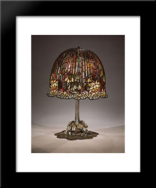 Water Lily Table Lamp: Modern Black Framed Art Print by Louis Comfort Tiffany