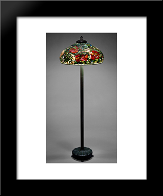 Elaborate Peony Shade With Standing Lamp: Modern Black Framed Art Print by Louis Comfort Tiffany