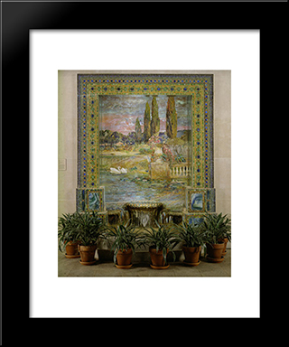 Garden Landscape And Fountain: Modern Black Framed Art Print by Louis Comfort Tiffany