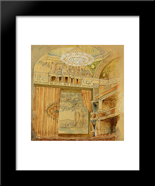 Design For Lyceum Theatre, New York: Modern Black Framed Art Print by Louis Comfort Tiffany