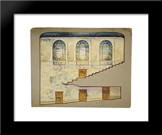 Design For Hershey Theatre, Hershey, Pennsylvania, Interior Wall: Modern Black Framed Art Print by Louis Comfort Tiffany