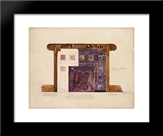 Design For Mosaic Mantel Facing In Residence Of Mrs. Louis G. Kaufman, Short Hills, New Jersey: Modern Black Framed Art Print by Louis Comfort Tiffany