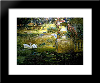 Mosaic Fountain [Detail Of Swans]: Modern Black Framed Art Print by Louis Comfort Tiffany