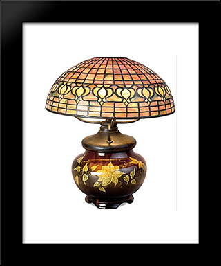 Pomegranate Lamp With Mariposa Pottery Base: Modern Black Framed Art Print by Louis Comfort Tiffany