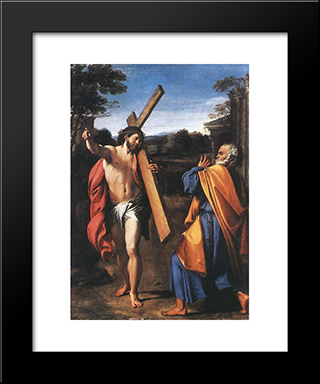 Domine Quo Vadis?: Modern Black Framed Art Print by Annibale Carracci