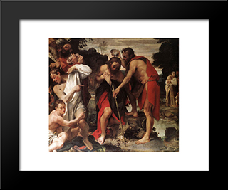 The Baptism Of Christ: Modern Black Framed Art Print by Annibale Carracci