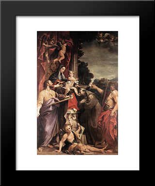 Madonna Enthroned With St Matthew: Modern Black Framed Art Print by Annibale Carracci