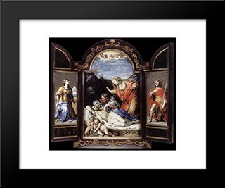 Triptych: Modern Black Framed Art Print by Annibale Carracci