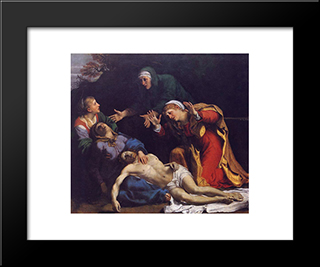Lamentation Of Christ: Modern Black Framed Art Print by Annibale Carracci
