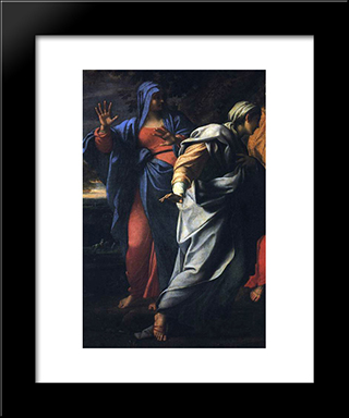 Holy Women At The Tomb Of Christ [Detail]: Modern Black Framed Art Print by Annibale Carracci