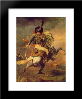 An Officer Of The Imperial Horse Guards Charging: Modern Black Framed Art Print by Theodore Gericault
