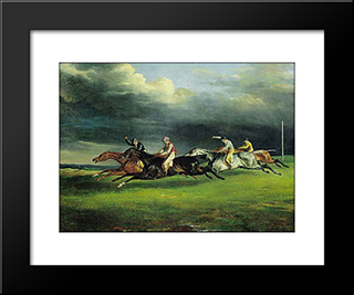 Derby At Epsom: Modern Black Framed Art Print by Theodore Gericault