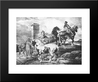 English Scenes ' Horses: Modern Black Framed Art Print by Theodore Gericault