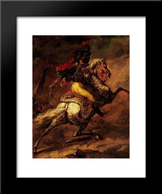 Study For The Charging Casseur: Modern Black Framed Art Print by Theodore Gericault