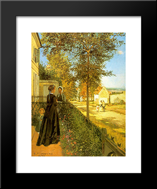 Louveciennes: The Road To Versailles: Modern Black Framed Art Print by Camille Pissarro
