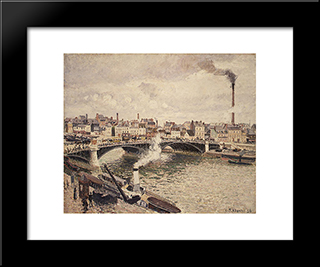 Morning, An Overcast Day, Rouen: Modern Black Framed Art Print by Camille Pissarro