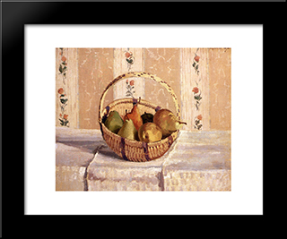 Still Life: Apples And Pears In A Round Basket: Modern Black Framed Art Print by Camille Pissarro