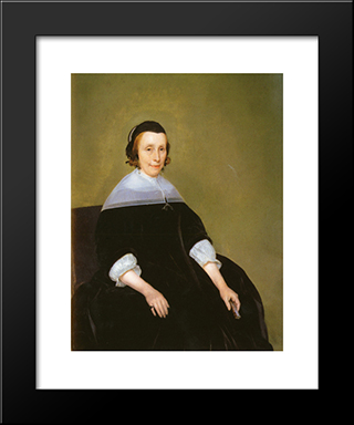 Portrait Of A Lady: Modern Black Framed Art Print by Gerard Terborch