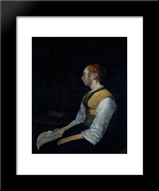 Girl In Peasant Costume. Probably Gesina, The Painter'S Half'Sister: Modern Black Framed Art Print by Gerard Terborch