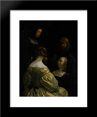 Woman At A Mirror: Modern Black Framed Art Print by Gerard Terborch