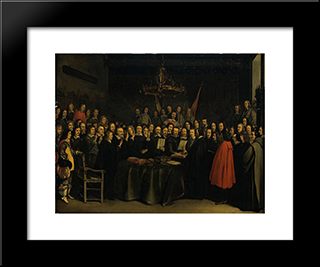 The Ratification Of The Treaty Of Munster, 15 May 1648: Modern Black Framed Art Print by Gerard Terborch