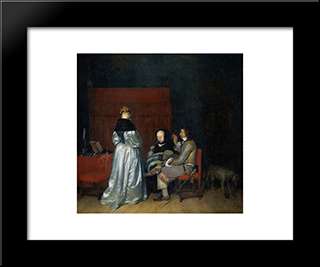 Gallant Conversation; Known As The Paternal Admonition': Modern Black Framed Art Print by Gerard Terborch