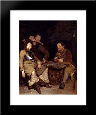 A Guard Room Interior, With A Soldier Blowing Smoke In The Face Of His Sleeping Companion, A Third Looking On: Modern Black Framed Art Print by Gerard Terborch