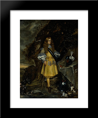 Memorial Portrait Of Moses Ter Borch: Modern Black Framed Art Print by Gerard Terborch