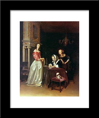 Curiosity: Modern Black Framed Art Print by Gerard Terborch