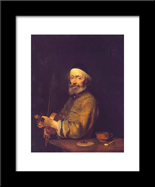 The Violinist: Modern Black Framed Art Print by Gerard Terborch