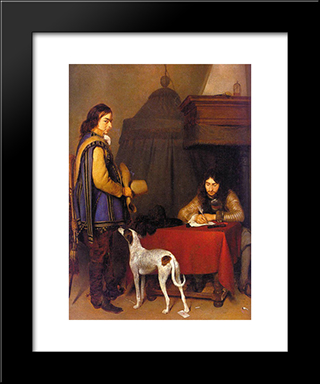 The Dispatch: Modern Black Framed Art Print by Gerard Terborch