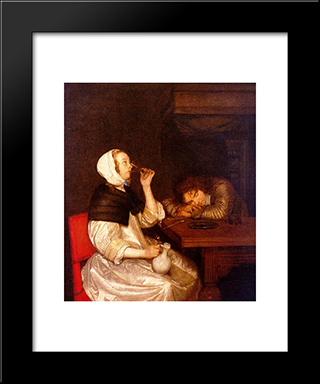 Woman Drinking With A Sleeping Soldier: Modern Black Framed Art Print by Gerard Terborch