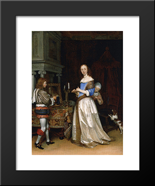 A Lady At Her Toilet: Modern Black Framed Art Print by Gerard Terborch