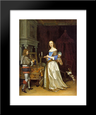 A Lady At Her Toilette: Modern Black Framed Art Print by Gerard Terborch