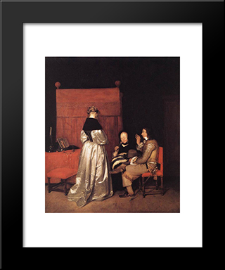 Paternal Admonition: Modern Black Framed Art Print by Gerard Terborch
