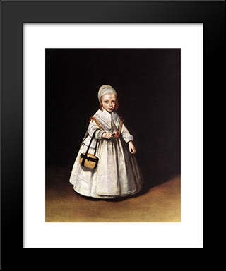 Helena Van Der Schalcke As A Child: Modern Black Framed Art Print by Gerard Terborch