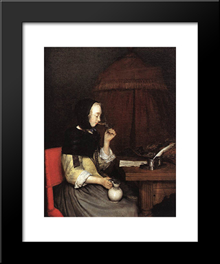 A Woman Drinking Wine: Modern Black Framed Art Print by Gerard Terborch