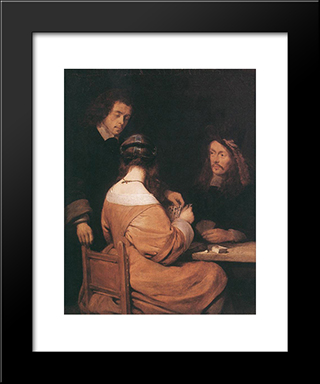 Card'Players: Modern Black Framed Art Print by Gerard Terborch