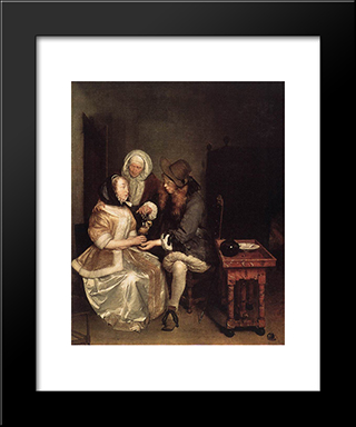 The Glass Of Lemonade: Modern Black Framed Art Print by Gerard Terborch