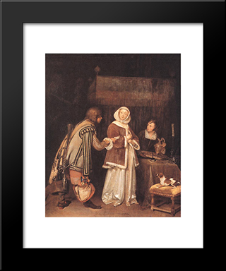 The Letter: Modern Black Framed Art Print by Gerard Terborch