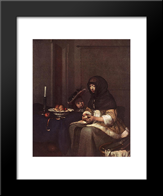 Woman Peeling Apple: Modern Black Framed Art Print by Gerard Terborch
