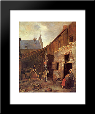 The Family Of The Stone Grinder: Modern Black Framed Art Print by Gerard Terborch