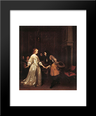 The Dancing Couple: Modern Black Framed Art Print by Gerard Terborch
