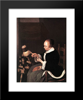 A Woman Spinning: Modern Black Framed Art Print by Gerard Terborch