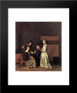 The Visit: Modern Black Framed Art Print by Gerard Terborch