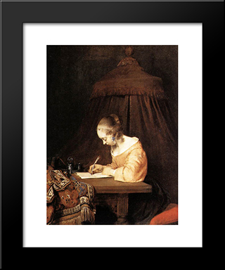 Woman Writing A Letter: Modern Black Framed Art Print by Gerard Terborch