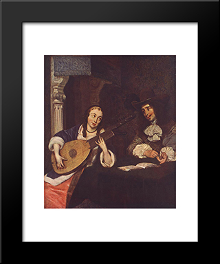 Woman Playing The Lute: Modern Black Framed Art Print by Gerard Terborch